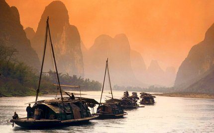 Chinese river with mountains